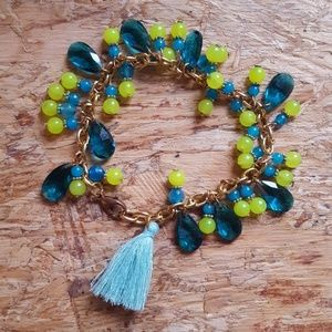 Neon yellow and teal blue teardrops bracelet